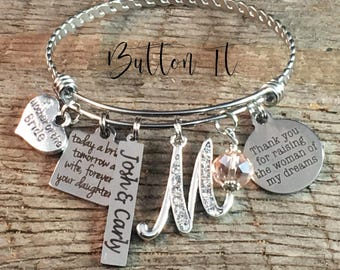 Mother of the BRIDE gift, PERSONALIZED gift, Mother of the groom gift, BANGLE, Mom gifts, Mother in law gift, gift from bride charm bracelet
