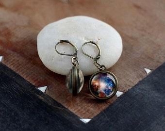 Orion nebula dangle earrings, Orion drop earrings, double sided nebula earrings, Space Jewelry, Astronomy Jewelry, Galaxy Universe Earrings