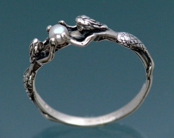 Two Mermaids Ring with Pearl  Size 9-1/4 to 13