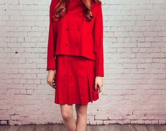 Handmade red suit,Pleated skirt,red jacket,60s fashion,Mods suit,Mod,matching set women,costume women,skirt and jacket suit,set