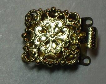 Clasp Goldtone Filigree 3-Strand Czech