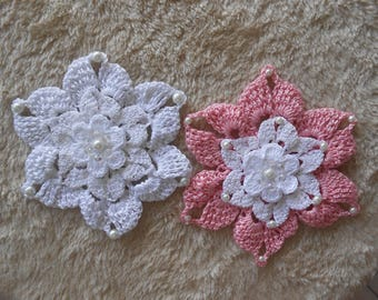 rose white crochet flower/crocheted flowers