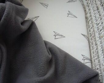 Gender Neutral Soft Fleece Baby Moses/Pram Blanket Cloudy Grey