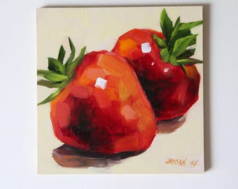 Strawberries original oil painting, still life painting, boba painting