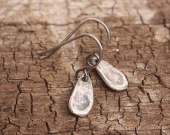 dew drops | sculpted sterling silver drop dangle earrings | oxidized