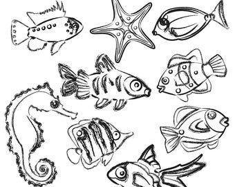 Fish Sketches Clipart, Sketched Fish Clip Art, Fish Clipart, Fish Clip Art, Ocean Clipart, Beach Clipart, Digital Download
