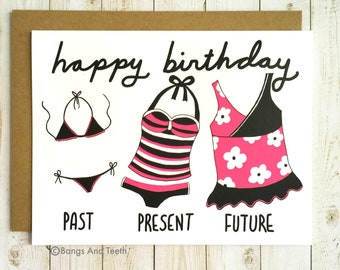 Funny Birthday Card For Her, Tankini Birthday, Funny Birthday Card, Girlfriend Birthday, Sister Birthday, Friend Birthday Card
