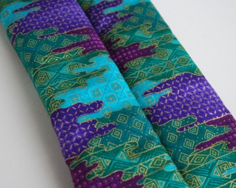 seatbelt covers car 1 pair Purple, green, gold abstract patterned.