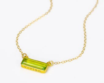 Name Necklace, Adira Series Dainty Peridot Bar Necklace, Gold Gemstone Bar Necklace Wedding Bridesmaids gift Statement August Birthstone
