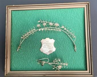 Antique Bridal crown Framed, wedding tiara, bridal Tiara silver, flower crown, wedding hair accessory, myrtle Crown, Boho Wreath