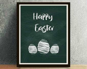 Happy Easter - Easter Print, Easter Art, Chalkboard Art, Easter, Easter Download, Black and White, Happy Easter Print, Spring Art, Spring