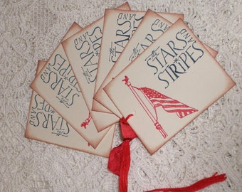 Memorial Day Gift Tags - The Stars and Stripes - Flag- Patriotic -  Fourth of July Gift Tags -Set of Six