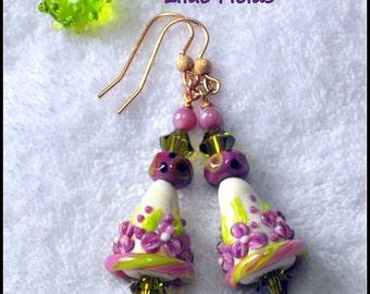 Lilac Lime and Ivory Earrings,Lampwork Earrings,Floral Earrings,Cone Earrings,Glass,Bead,Dangle Earrings -LILAC FIELDS