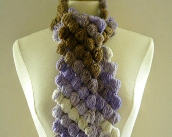 Crochet Scarf Neckwarmer Women Puffy Bobble Shades of Purple Soft White and Brown