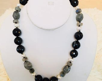 "Black agate, labradorite and fresh water pearl 18"" long necklace."