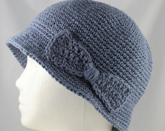 Cloche Hat in Faded Denim Blue for Cancer Patients - Chemo Hat/Cancer Hat/Chemo Cap/Cancer Cap