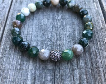 Moss Agate Jewelry, Agate Jewelry, Healing Crystals, Moss Agate Bracelet, Mala Beads, Yoga Beads, Agate Bracelet, Chakra Stones
