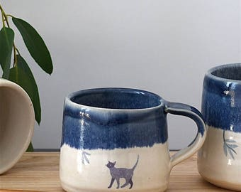 Handmade ceramic espresso cup, blue and white cup, cat mug, cat espresso cup, stoneware - illustrated pottery
