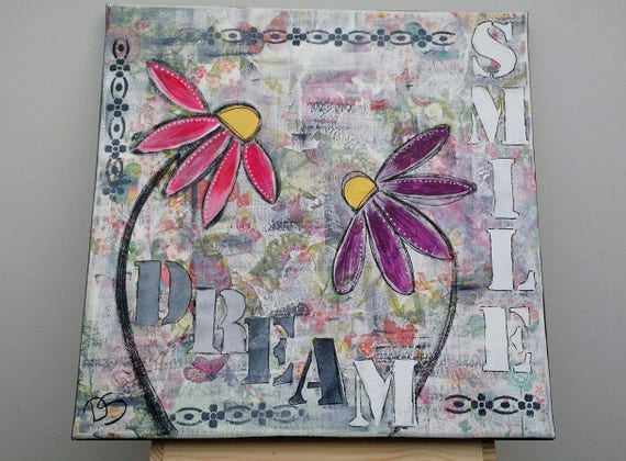 Mixed Media Art Collage, smile and dream