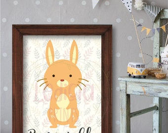Réf 1905 mignon être Sociable Bunny lapin Illustration numérique impression lettrage lettre murale Art déco chambre de bebe imprimable