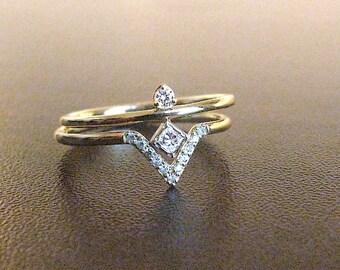 Modern Engagement Ring Set Diamond, Diamond Wedding Ring, Unique Engagement Ring Diamond, Dainty Rings Diamond, Wedding Set, Bridal Set