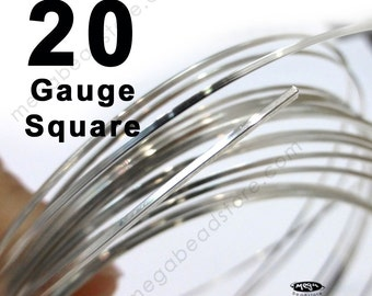 4 feet 20 Gauge Square Sterling Silver Wire Half Hard (HH)