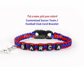Custom soccer sport team bracelet, soccer Football Bracelet, Adjustable or Buckle, Barca Wristband, Messi, gift Under 25, Barca gift