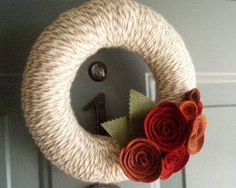 Yarn Wreath Felt Handmade Door Decoration - Lovely 8in