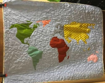 World map quilt etsy world map blanket adventure awaits nursery decor oh the places bedding personalized baby quilt map quilt custom made blanket gumiabroncs Image collections