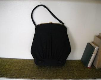 Little Black Bag - 1940s Wool Bow Handbag