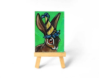Rabbit Art ACEO Original Painting, Jackrabbit, Jack Rabbit, Mardis Gras Hat, Pet Portrait, Bunny Owner, Anthro Art, Animal Lover