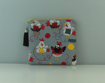 Knitting Hens Notions Pouch/ Purse