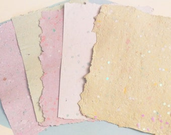 Handmade Pastel Paper -- made from 100% recycled paper