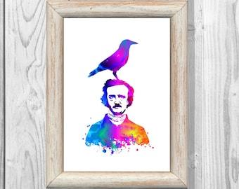 Edgar Allan Poe Poster Watercolor Print  Raven  Print  Wall  Art Print 8x10 Wall Decor  Home Decor  Instant Digital Download