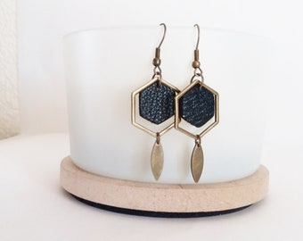 Earrings leather deep black hexagons graphics