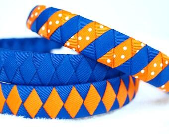 UF Ribbon Headbands   Florida Gators   University of Florida, Set of 3 Boutique Ribbon Headbands - FL Gators, Orange and Blue