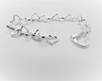 Sterling Silver Confused Hearts Bracelet