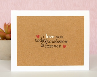 Handmade Valentines Card - Valentine's Day Card - I Love You Card - Happy Valentines Day - Card with Hearts - Handcrafted Romantic Card