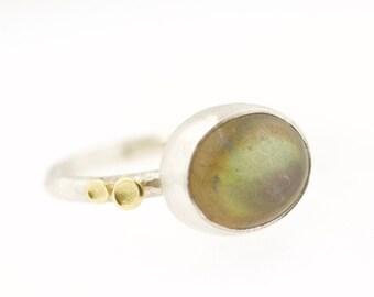 Lichen Oval Labradorite Gemstone Ring Sterling Silver 18K Gold Recycled Metal