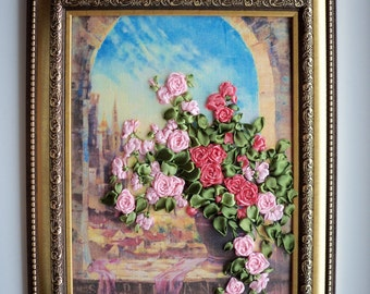 Ukrainian Roses in a Window Arch- Framed Ribbon Embroidery