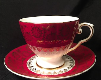 Beautiful Royal Grafton Fine Bone China Tea Cup and Saucer, made in England, 1950's, Rich Burgundy With Gold Flowers & Fleur de Lis