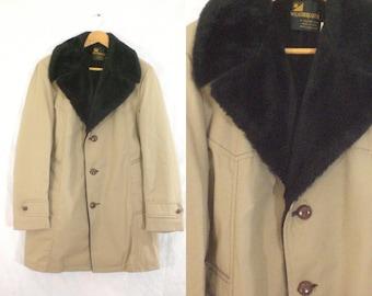 mens 60s coat size 40R / small - medium, faux fur lined, gabardine canvas coat, 1960s coat, mad men, waterproof outerwear