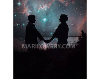 Romantic Celestial Wall Art Print, Stars and Planets, Silhouette of Couple, Valentine's Day, 8.5 x 11 Inch Collage Art Print, frighten