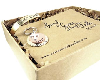 Gift for Her Gift Set Ready to Ship | Saved by Grace Religious Gifts For | Her Hand Stamped Key Chain and Bracelet |  expressions bracelets