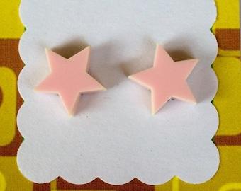 Star Laser Cut Earrings - acrylic, perspex, plastic, stud, retro, baby pink