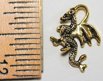 10pc Gold Plated Tiny Flying Dragon Charms C191