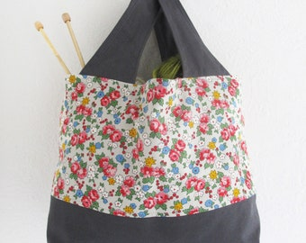 Grey Floral and Canvas Fabric Tote Bag | Small handbag to use as a mini shopping bag, project tote, or storage bag.