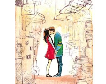 Book Store Lovers - Watercolor print - Lovers Series