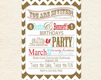 Brothers Joint Party Red and Aqua Printable Invitations
