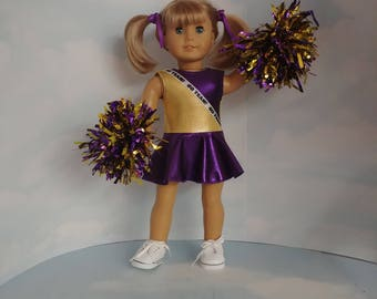 Purple and Gold Cheerleader 18 inch doll clothes